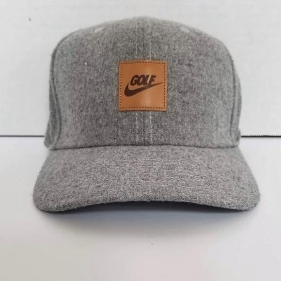 1dcb78a99 Nike Golf Wool Hat Leather Trim Baseball Cap